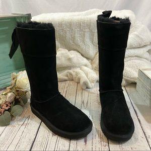 Ugg Koolaburra tall sheepskin suede bow boots NEW